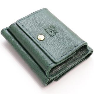 IL BISONTE - 新品 イルビゾンテ ミニ財布 小さめ 三つ折り財布 ミニウォレット グリーン 緑