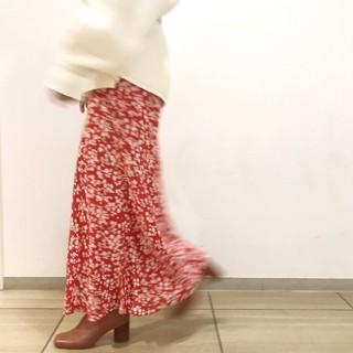 FRAY I.D - FRAY I.D ナローフラワースカート