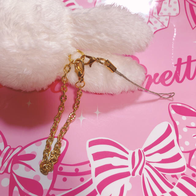 Angelic Pretty(アンジェリックプリティー)のAngelic  Pretty りりともちゃんストラップ シロ&ピンク レディースのファッション小物(キーホルダー)の商品写真