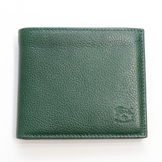 イルビゾンテ(IL BISONTE)の新品 イルビゾンテ 二つ折り 財布 折財布 コンパクト 札入れ レザー グリーン(折り財布)