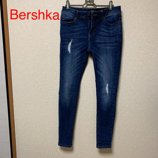 Bershka - 美品☆Bershka ダメージデニム skinny 【ブルー】