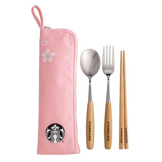 スターバックスコーヒー(Starbucks Coffee)のケース付!カトラリー 箸 スプーン フォーク ポーチ 台湾スターバックス 桜(ポーチ)