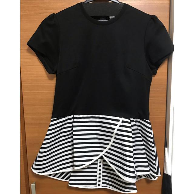 BARNEYS NEW YORK(バーニーズニューヨーク)のムチコさま専用ボーダーズ新品タグ付きペプラムTシャツ36 ブラック レディースのトップス(Tシャツ(半袖/袖なし))の商品写真