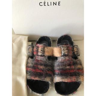 celine - celine  フィービー ボクシー ファーサンダル 35サイズ