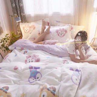 Disney - ダッフィーとステラルーちゃん柄のモコモコ ふわふわ寝具4点セット⭐️