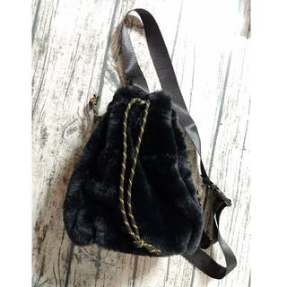 フェリシモ(FELISSIMO)の美品☆フェリシモ ファー巾着ボディバッグ(ショルダーバッグ)