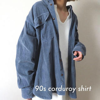 Santa Monica - 90s コーデュロイシャツ スモーキーブルー 古着 vintage