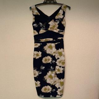 dazzy store - 花 ネイビー レース タイトドレス ドレス ワンピース