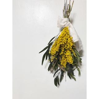 ☆ミニミニスワッグ付き☆記念日を彩るドライフラワーのブーケ  mimosa①(ドライフラワー)