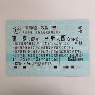【送料無料】新幹線回数券 東京(都区内) ↔︎ 新大阪(市内)