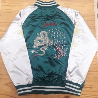 新品タグ付き 緑 龍鯉刺繍 和柄 スカジャン