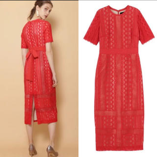 ラグナムーン(LagunaMoon)のラグナムーン ジオメトリック レース ドレス 赤 S(ミディアムドレス)