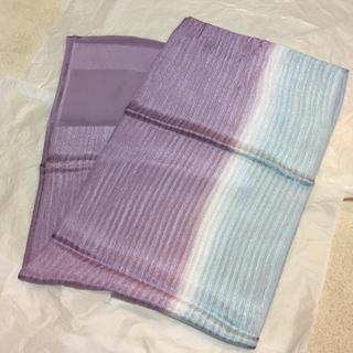 美品 丹後ちりめん 正絹 帯揚げ 紫 水色 グラデーション