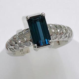 インディゴトルマリン リング 指輪 ダイヤモンド pt900 プラチナ900(リング(指輪))