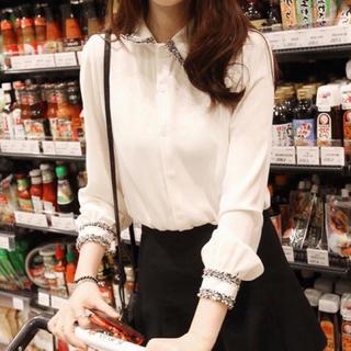 eimy istoire - ツイード襟デザインシャツ