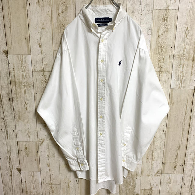 Ralph Lauren(ラルフローレン)の【激レア】ラルフローレン☆ワンポイントロゴ刺繍 BDシャツ ホワイト メンズのトップス(シャツ)の商品写真