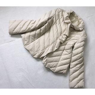 J691★ダウンジャケット ショート丈 大きいサイズ42(XL)13号ベージュ(ダウンジャケット)