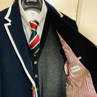 THOM BROWNE - トムブラウン限定商品!芸能人愛用ジャケット!定番ネイビー×ホワイト高級素材採用!