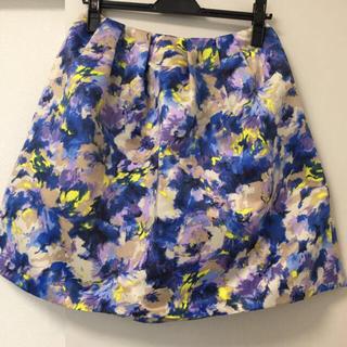 オペーク(OPAQUE)の美品 OPAQUE  水彩柄スカート(ひざ丈スカート)