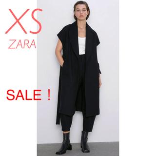 ZARA - 新品未使用 ZARA ウール ベルト コート ジレ ロングベスト XS 黒