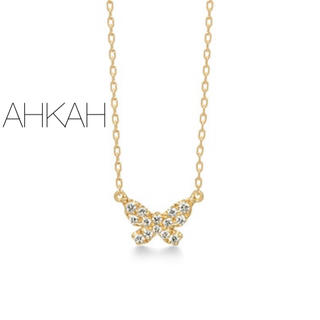 AHKAH - 【AHKAH】K18YGバタフライパヴェ ネックレス/ダイヤ