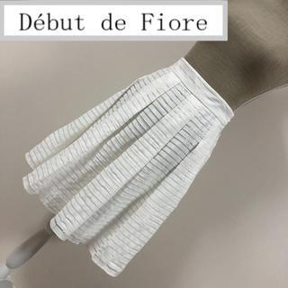 デビュードフィオレ(Debut de Fiore)のデビュードフィオレ シアーボーダー柄刺繍スカート 白(ひざ丈スカート)