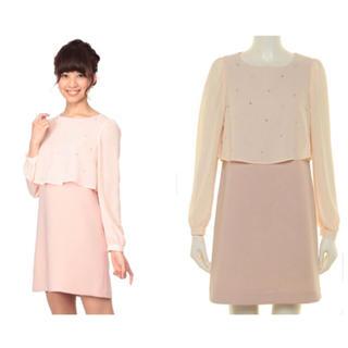 クルーンアソング(CROON A SONG)のコルテスワークス ピンク シフォン 長袖ワンピース ドレス(ひざ丈ワンピース)