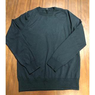 MUJI (無印良品) - MUJI シルク入りウール クールネックセーター 黒 Lサイズ