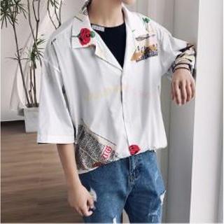 ☆売り切れ御免☆ 韓国ファッション  レトロ  シャツ  夏 半袖 男女兼用(シャツ)
