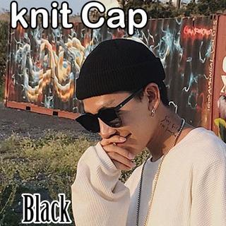 ブラック ニット帽 黒 浅め ニットキャップ ビーニー ブラック