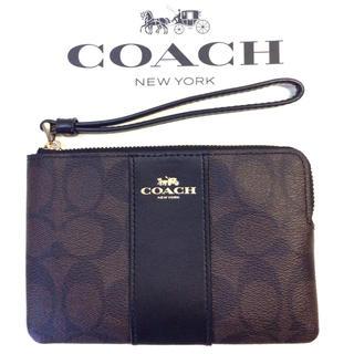 COACH - コーチ COACH  コーナージップ リストレット 茶色と黒便利でオシャレ