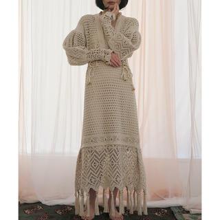 mame - 新品未使用 Rattan Knit Fringe Dress