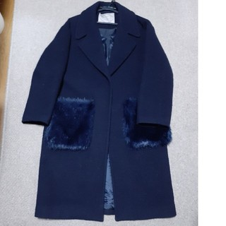 マジェスティックレゴン(MAJESTIC LEGON)の紺ロングコート ファーポケット(ロングコート)
