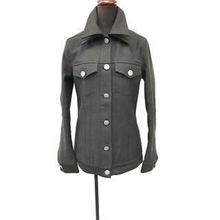 テイラードダブル襟×袖スリットGジャン ブラック シルバーボタン(Gジャン/デニムジャケット)