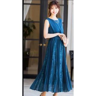 ファッションレター  レース×プリーツ切替ワンピース/ドレス 4L グリーン(ロングワンピース/マキシワンピース)