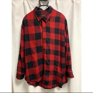ラッドミュージシャン(LAD MUSICIAN)の18aw ビッグ アシメチェックシャツ 42サイズ    (シャツ)