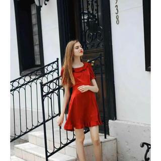 evelyn - lissi Boutique♡新品サテンフレアドレス♡レッド