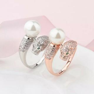 (568) レア 選べる2色 パール & 豹 リング指輪 フリーサイズ(リング(指輪))