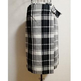 SCOT CLUB - スカート タイト 巻き ラップ チェック 柄 黒 ベージュ 新品 ブラック