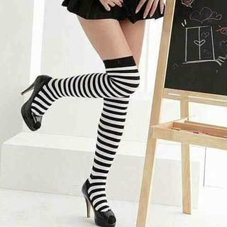 シンプル ボーダー ニーハイ ソックス 靴下 白黒 レディース