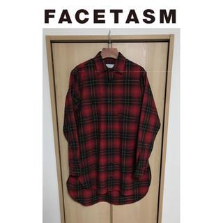 FACETASM - 【00】FACETASM ウール オーバーサイズ チェックロングシャツ RED