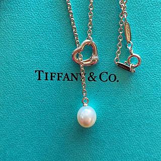 Tiffany & Co. - tiffanyオープンハートパールラリアットネックレス