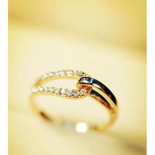 指輪 リング レディース スワロフスキー 職場K18金RGP 金属アレルギー対応(リング(指輪))