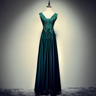 グリーン サテン ロングドレス
