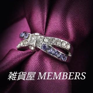 送料無料17号クロムシルバーアメジストスーパーCZダイヤデザイナーズリング指輪(リング(指輪))