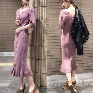 snidel - レア♡新品タグ付 SNIDEL フロントボタンニットワンピース ピンク 今季