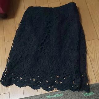 アルシーヴ(archives)の美品 ARCHIVES レーススカート 黒タイト (ひざ丈スカート)
