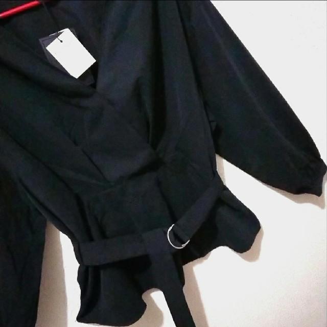 Avail(アベイル)の新品 Avail ベルト付き スエード ブラック ブラウス♥️3L GU レディースのトップス(シャツ/ブラウス(長袖/七分))の商品写真