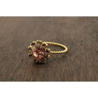 【T265】ラインストーン フラワー ビジュー リング 指輪 14号 キラキラ (リング(指輪))