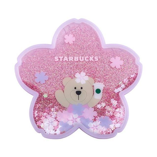 Starbucks Coffee(スターバックスコーヒー)の【台湾 スターバックス】2020年 桜 キラキラ  ベアリスタ 熊 コースター インテリア/住まい/日用品のキッチン/食器(グラス/カップ)の商品写真